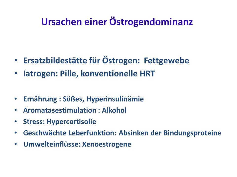 Ursachen einer Östrogendominanz Ersatzbildestätte für Östrogen: Fettgewebe Iatrogen: Pille, konventionelle HRT Ernährung : Süßes, Hyperinsulinämie Aro