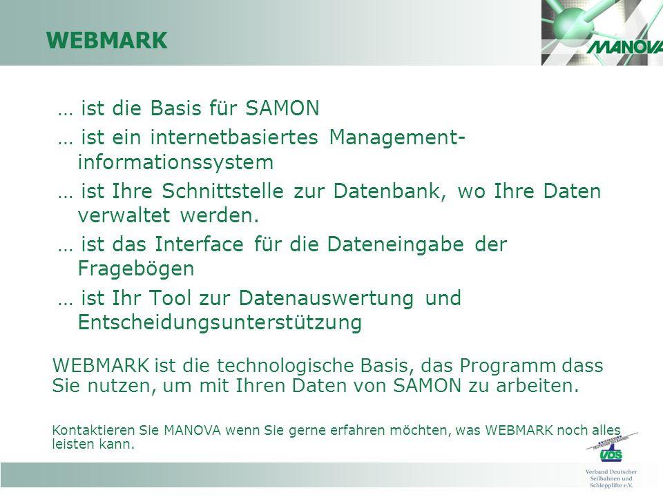 WEBMARK … ist die Basis für SAMON … ist ein internetbasiertes Management- informationssystem … ist Ihre Schnittstelle zur Datenbank, wo Ihre Daten verwaltet werden.