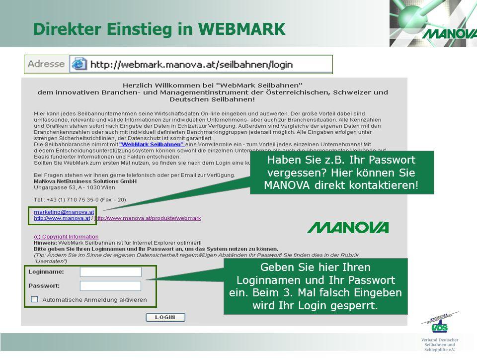 Direkter Einstieg in WEBMARK Geben Sie hier Ihren Loginnamen und Ihr Passwort ein.