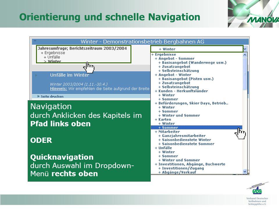 Orientierung und schnelle Navigation Navigation durch Anklicken des Kapitels im Pfad links oben ODER Quicknavigation durch Auswahl im Dropdown- Menü rechts oben