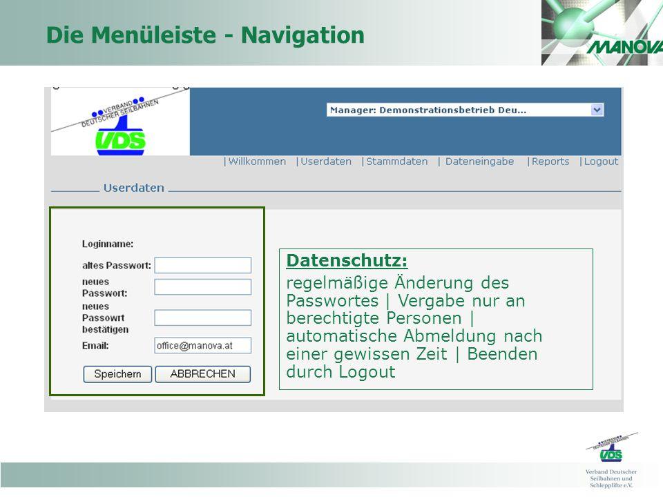 Die Menüleiste - Navigation Datenschutz: regelmäßige Änderung des Passwortes | Vergabe nur an berechtigte Personen | automatische Abmeldung nach einer gewissen Zeit | Beenden durch Logout