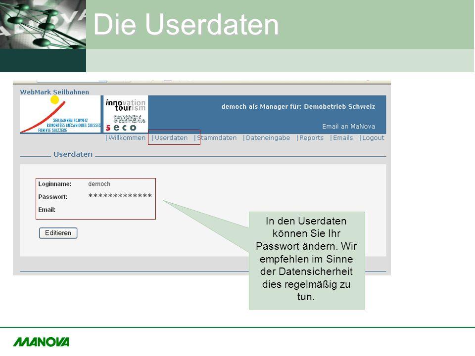 Die Userdaten In den Userdaten können Sie Ihr Passwort ändern. Wir empfehlen im Sinne der Datensicherheit dies regelmäßig zu tun.