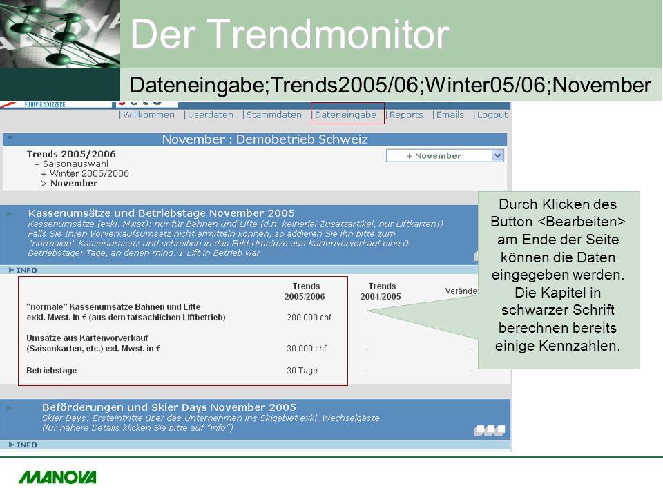 Der Trendmonitor Durch Klicken des Button am Ende der Seite können die Daten eingegeben werden. Die Kapitel in schwarzer Schrift berechnen bereits ein