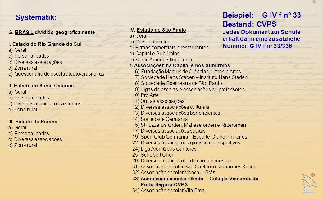 Systematik: G.BRASIL dividido geograficamente I.