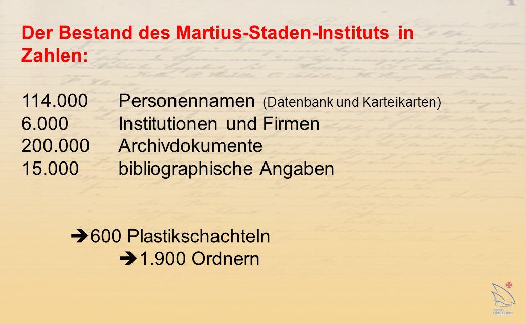 Der Bestand des Martius-Staden-Instituts in Zahlen: 114.000 Personennamen (Datenbank und Karteikarten) 6.000 Institutionen und Firmen 200.000 Archivdokumente 15.000 bibliographische Angaben 600 Plastikschachteln 1.900 Ordnern