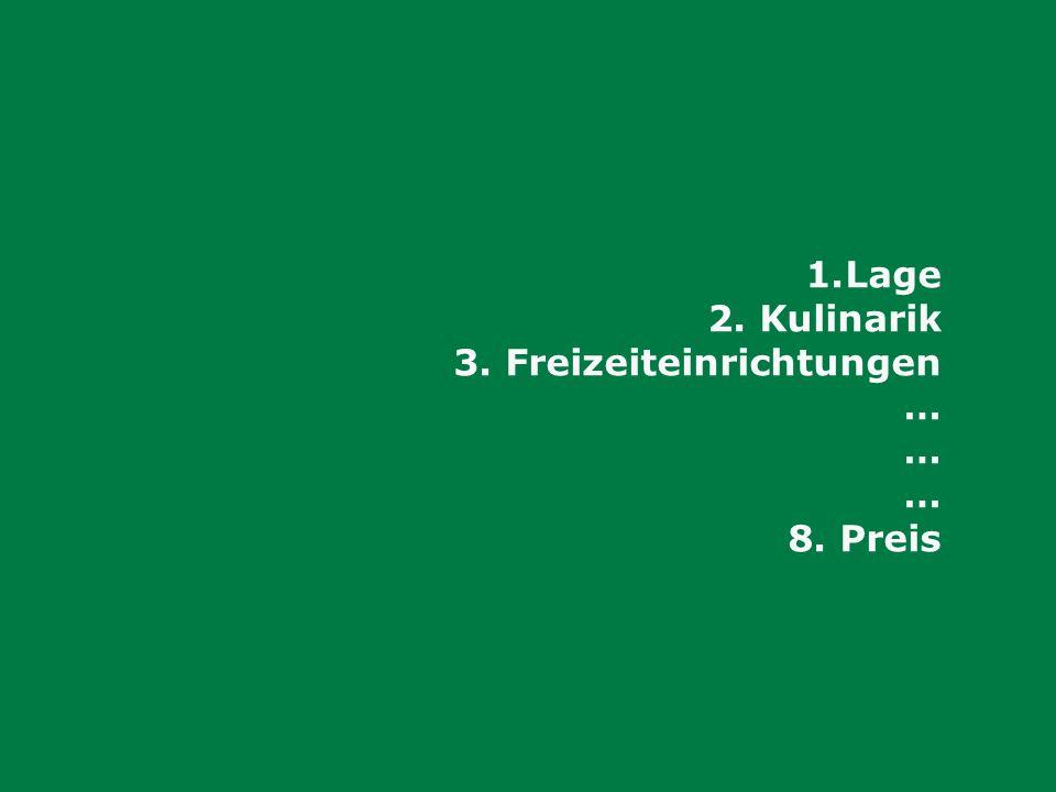 1.Lage 2. Kulinarik 3. Freizeiteinrichtungen … 8. Preis
