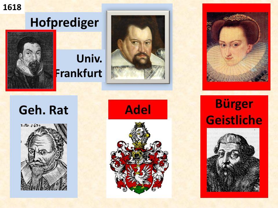Geh. Rat, Hofprediger Adel Univ. Frankfurt Bürger Geistliche 1618