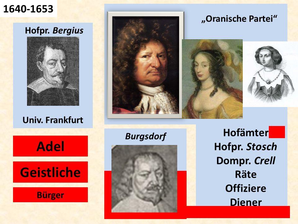 Geh. Rat Hofpr. Bergius Univ. Frankfurt Adel Geistliche Burgsdorf Hofämter Hofpr. Stosch Dompr. Crell Räte Offiziere Diener 1640-1653 Bürger Oranische
