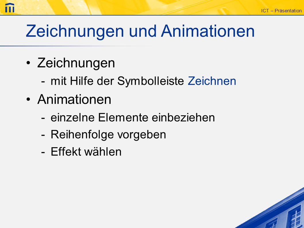 ICT – Präsentation Zeichnungen und Animationen Zeichnungen -mit Hilfe der Symbolleiste Zeichnen Animationen -einzelne Elemente einbeziehen -Reihenfolg