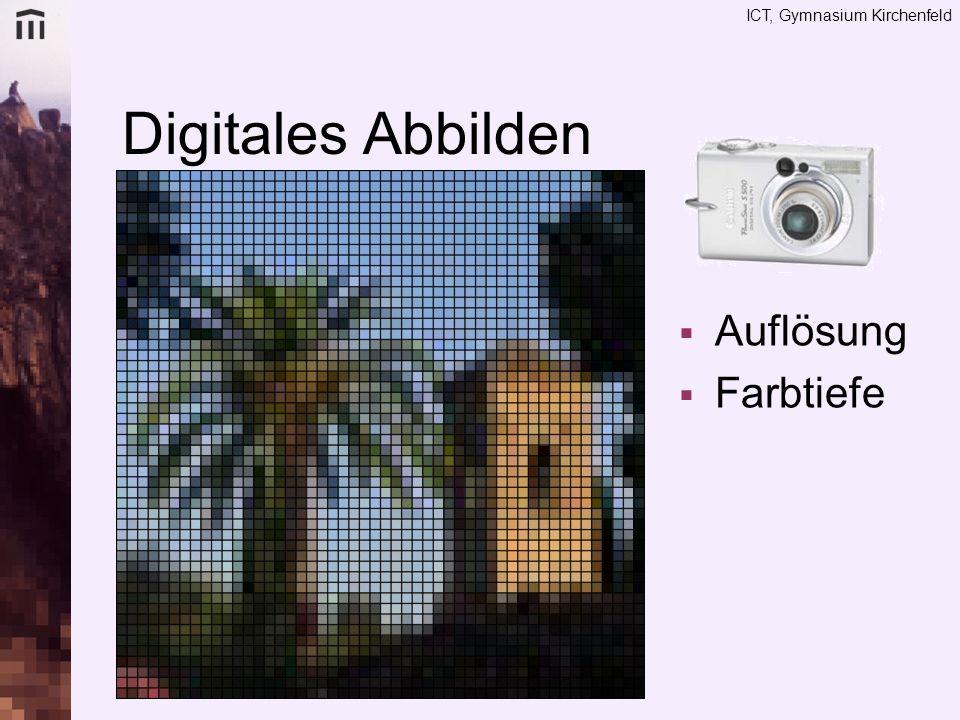 ICT, Gymnasium Kirchenfeld Farbtiefe Additive Farbmischung: wie Licht 3 Farbkanäle –Rot –Grün –Blau je 8 Bit, d.h.