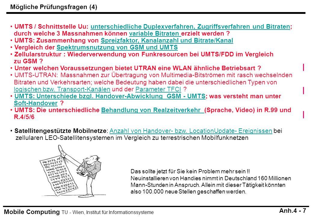 Mobile Computing TU - Wien, Institut für Informationssysteme UMTS / Schnittstelle Uu: unterschiedliche Duplexverfahren, Zugriffsverfahren und Bitraten