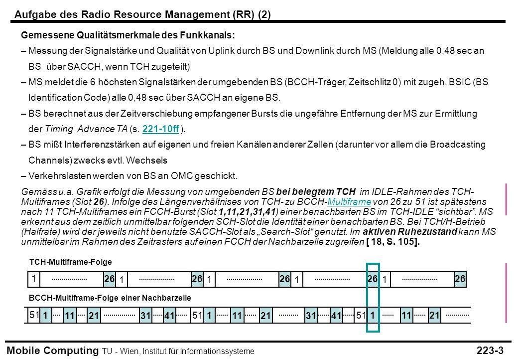 Mobile Computing TU - Wien, Institut für Informationssysteme Gemessene Qualitätsmerkmale des Funkkanals: – Messung der Signalstärke und Qualität von Uplink durch BS und Downlink durch MS (Meldung alle 0,48 sec an BS über SACCH, wenn TCH zugeteilt) – MS meldet die 6 höchsten Signalstärken der umgebenden BS (BCCH-Träger, Zeitschlitz 0) mit zugeh.