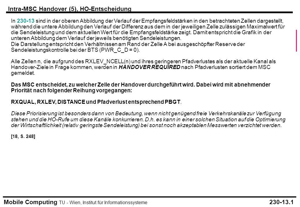 Mobile Computing TU - Wien, Institut für Informationssysteme Intra-MSC Handover (5), HO-Entscheidung 230-13.1 In 230-13 sind in der oberen Abbildung der Verlauf der Empfangsfeldstärken in den betrachteten Zellen dargestellt, während die untere Abbildung den Verlauf der Differenz aus dem in der jeweiligen Zelle zulässigen Maximalwert für die Sendeleistung und dem aktuellen Wert für die Empfangsfeldstärke zeigt.
