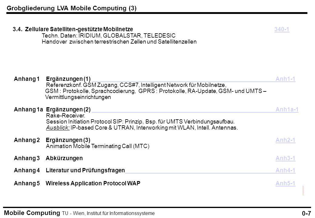 Mobile Computing TU - Wien, Institut für Informationssysteme Grobgliederung LVA Mobile Computing (3) 0-7 3.4. Zellulare Satelliten-gestützte Mobilnetz
