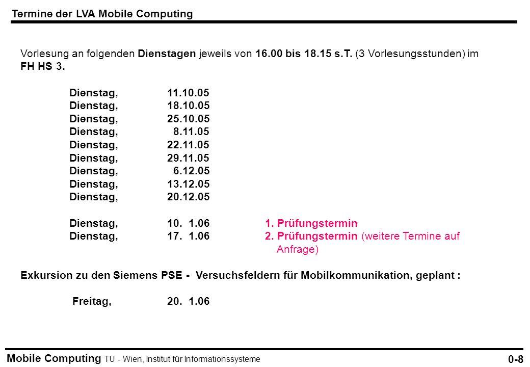 Mobile Computing TU - Wien, Institut für Informationssysteme Termine der LVA Mobile Computing 0-8 Vorlesung an folgenden Dienstagen jeweils von 16.00