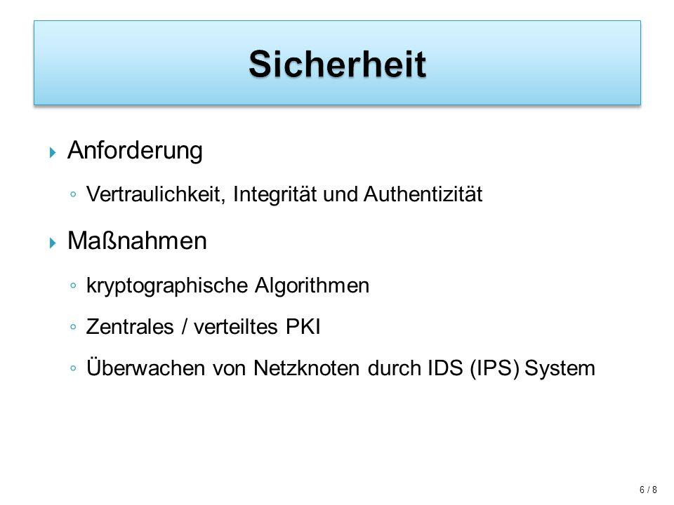 7 / 8 Große Nachfrage -> viele Anwendungsfälle Sicherheit wichtiges Thema Sicherheitsarchitektur z.