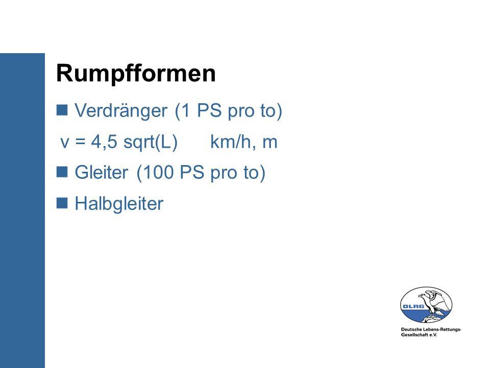 Rumpfformen Verdränger (1 PS pro to) v = 4,5 sqrt(L) km/h, m Gleiter (100 PS pro to) Halbgleiter