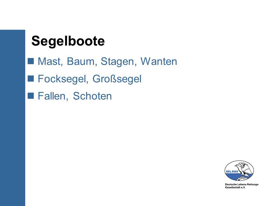 Segelboote Mast, Baum, Stagen, Wanten Focksegel, Großsegel Fallen, Schoten
