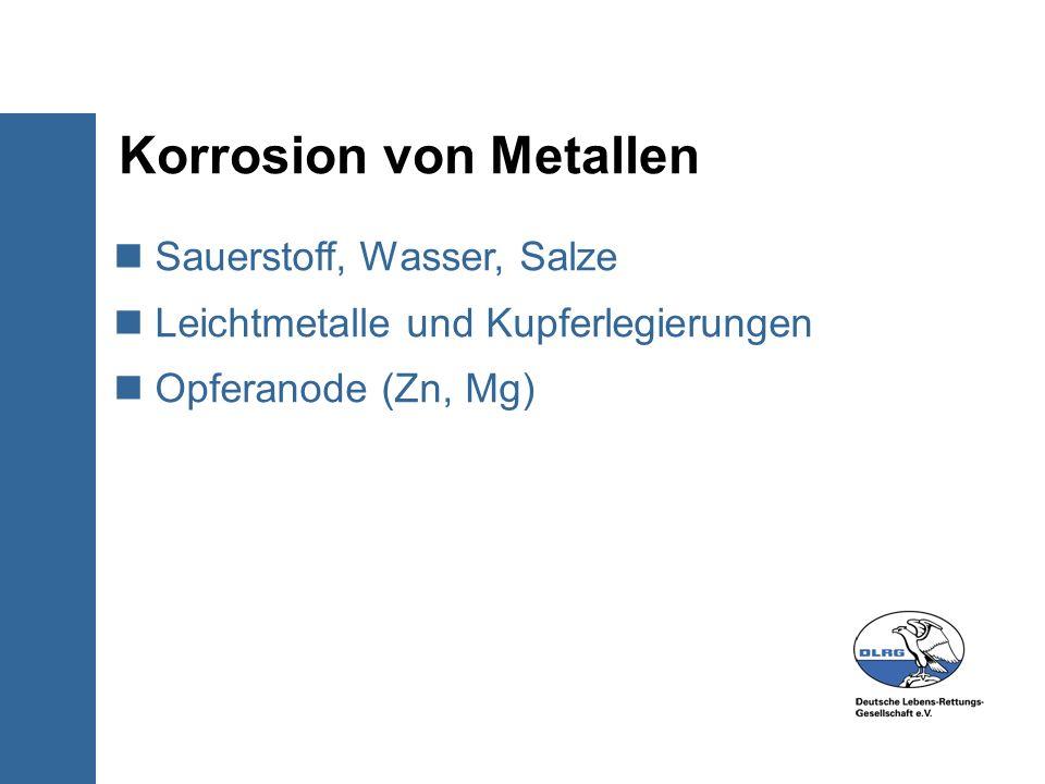 Korrosion von Metallen Sauerstoff, Wasser, Salze Leichtmetalle und Kupferlegierungen Opferanode (Zn, Mg)