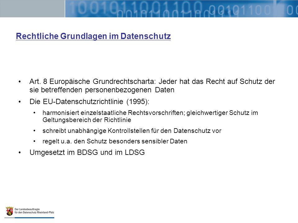 Rechtliche Grundlagen im Datenschutz Art. 8 Europäische Grundrechtscharta: Jeder hat das Recht auf Schutz der sie betreffenden personenbezogenen Daten
