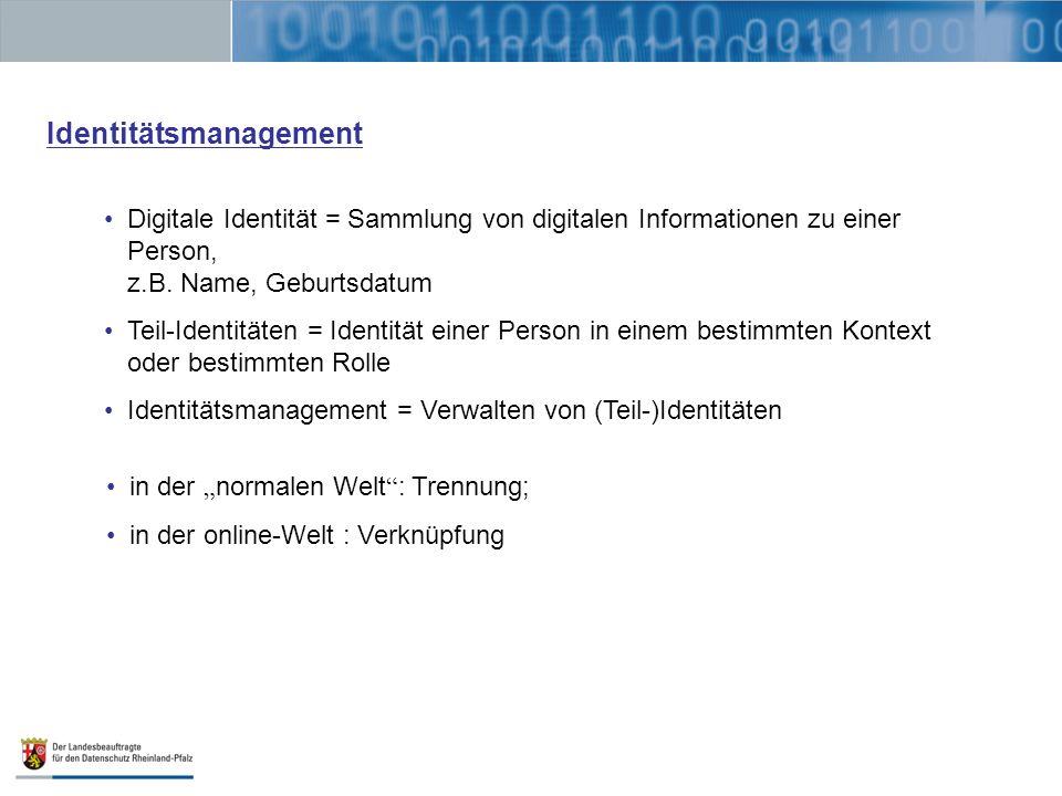 Identitätsmanagement Digitale Identität = Sammlung von digitalen Informationen zu einer Person, z.B. Name, Geburtsdatum Teil-Identitäten = Identität e