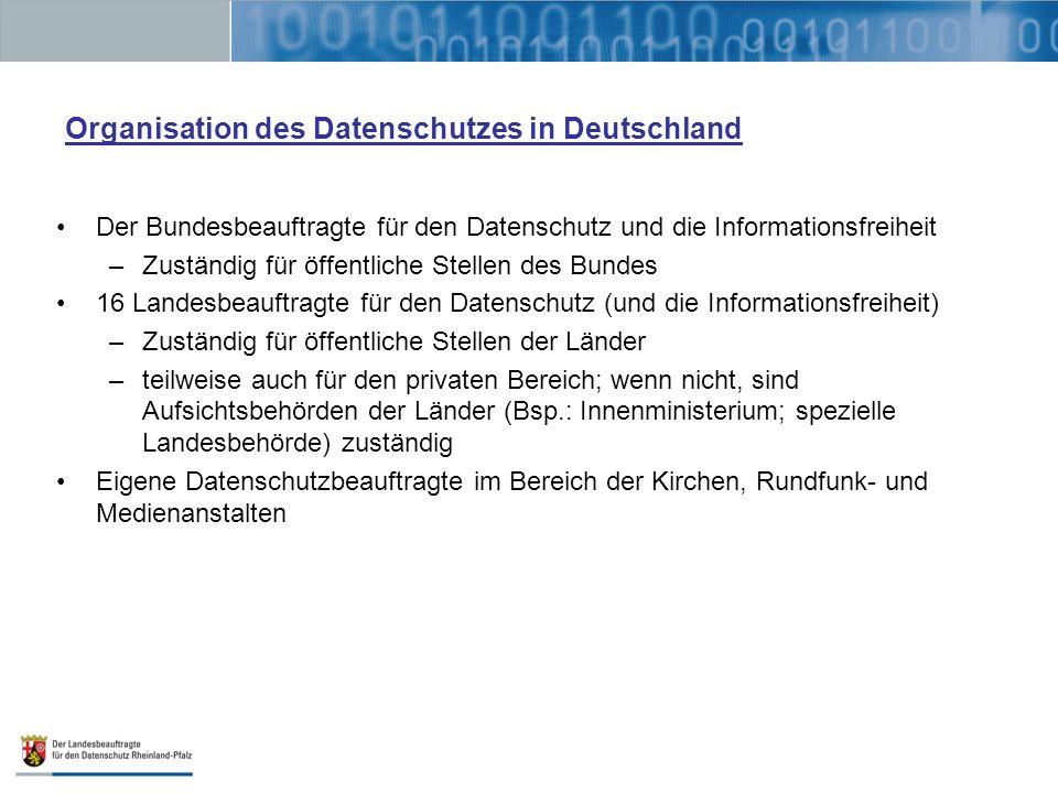 Organisation des Datenschutzes in Deutschland Der Bundesbeauftragte für den Datenschutz und die Informationsfreiheit –Zuständig für öffentliche Stelle