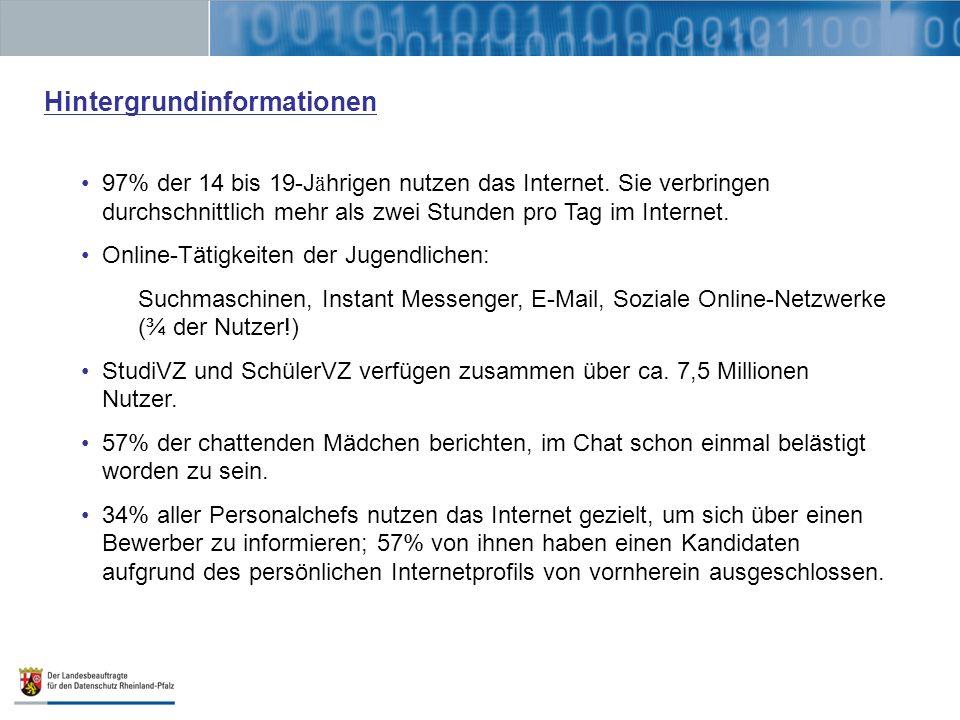 Hintergrundinformationen 97% der 14 bis 19-J ä hrigen nutzen das Internet. Sie verbringen durchschnittlich mehr als zwei Stunden pro Tag im Internet.