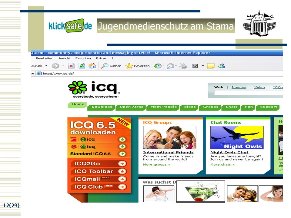 Jugendmedienschutz am Stama 12(29) ICQ Homepage