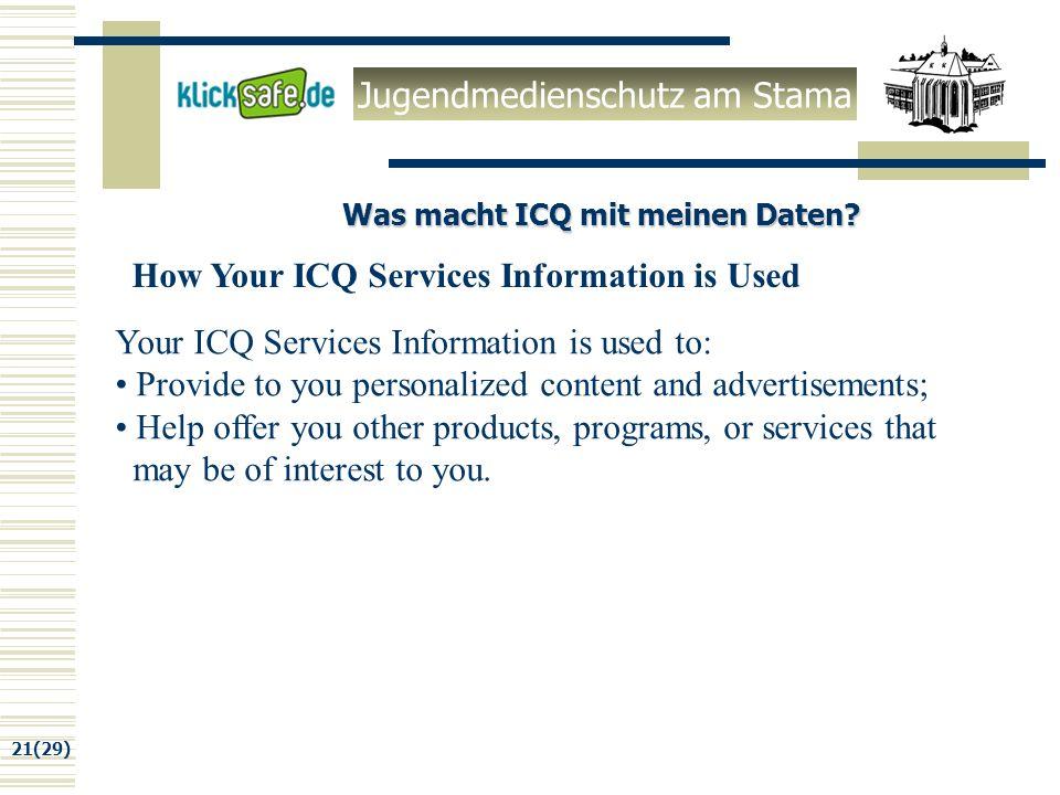 Jugendmedienschutz am Stama 21(29) Was macht ICQ mit meinen Daten.
