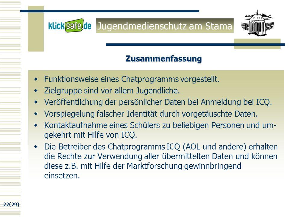 Jugendmedienschutz am Stama 22(29) Zusammenfassung Funktionsweise eines Chatprogramms vorgestellt.