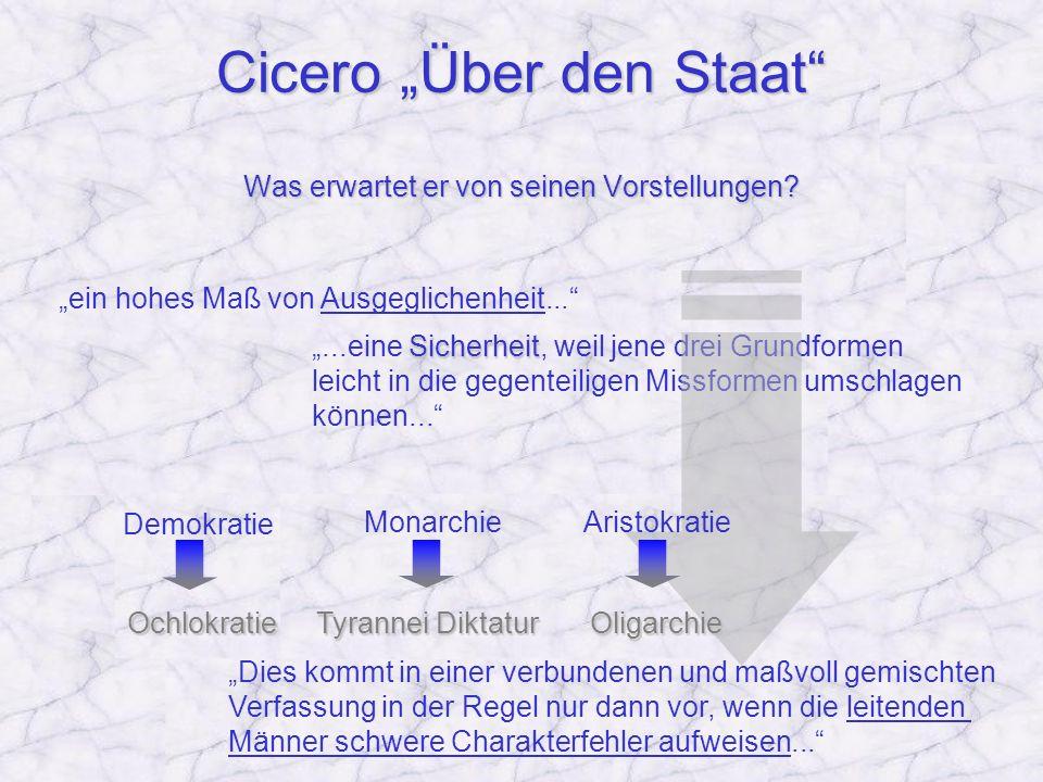 Cicero Über den Staat Was erwartet er von seinen Vorstellungen? ein hohes Maß von Ausgeglichenheit......eine S SS Sicherheit, weil jene drei Grundform
