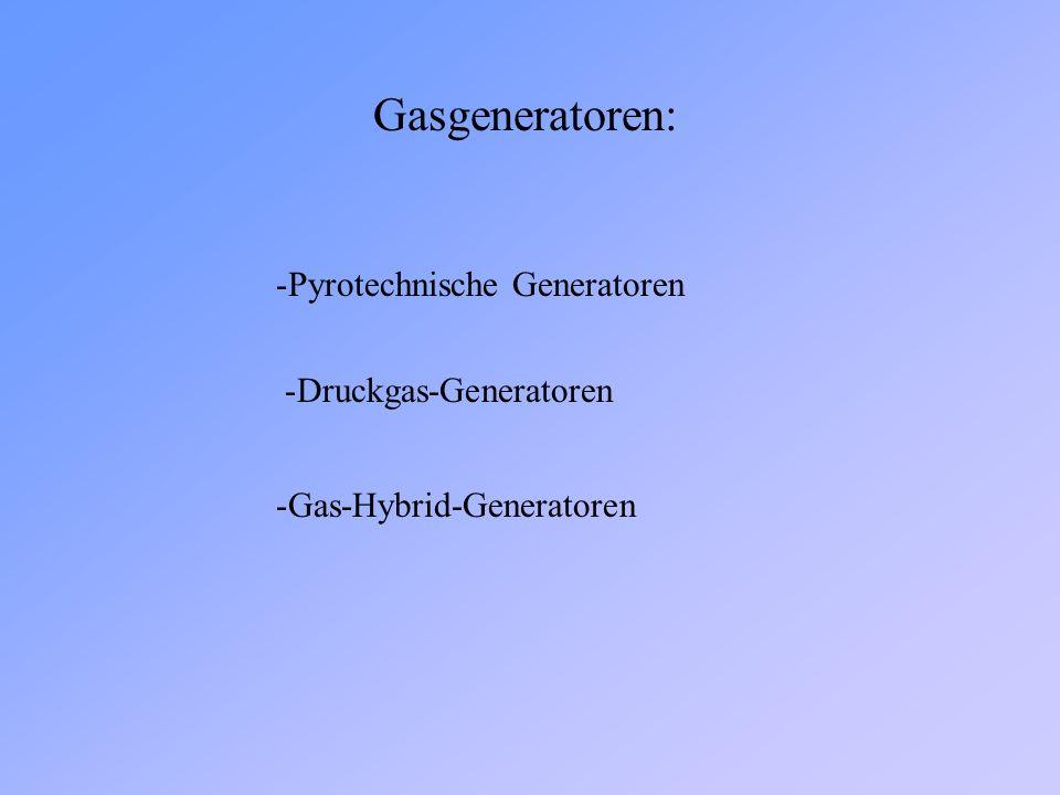 Gasgeneratoren: -Pyrotechnische Generatoren -Druckgas-Generatoren -Gas-Hybrid-Generatoren