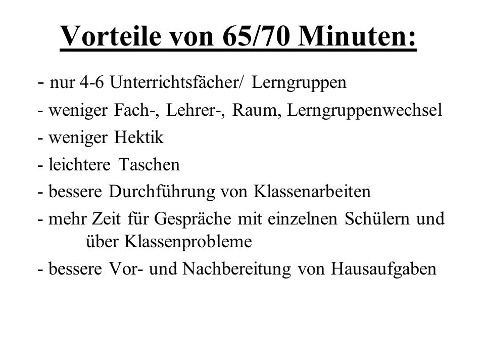 einfache Umrechnung Faktor 1,5 (z.B. 25,5 Ust. -> 17 Langst.) 45 Min. x 1,5 = 67,5 Mischung: (65 + 70):2 = 67,5