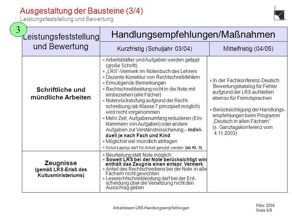 März 2004 Seite 6/8 Arbeitsteam LRS-Handlungsempfehlungen Ausgestaltung der Bausteine (3/4) Leistungsfeststellung und Bewertung 3 Schriftliche und mün