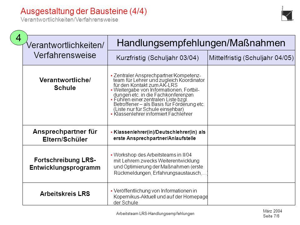 März 2004 Seite 7/8 Arbeitsteam LRS-Handlungsempfehlungen Ausgestaltung der Bausteine (4/4) Verantwortlichkeiten/Verfahrensweise 4 Verantwortliche/ Sc