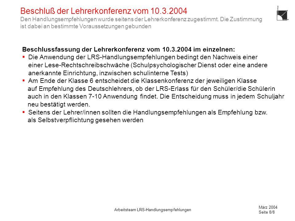 März 2004 Seite 8/8 Arbeitsteam LRS-Handlungsempfehlungen Beschluß der Lehrerkonferenz vom 10.3.2004 Den Handlungsempfehlungen wurde seitens der Lehrerkonferenz zugestimmt.
