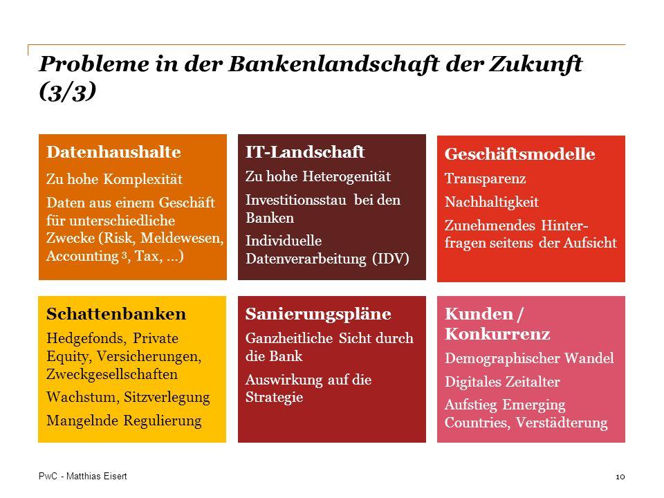 PwC - Matthias Eisert Datenhaushalte Zu hohe Komplexität Daten aus einem Geschäft für unterschiedliche Zwecke (Risk, Meldewesen, Accounting 3, Tax, …)