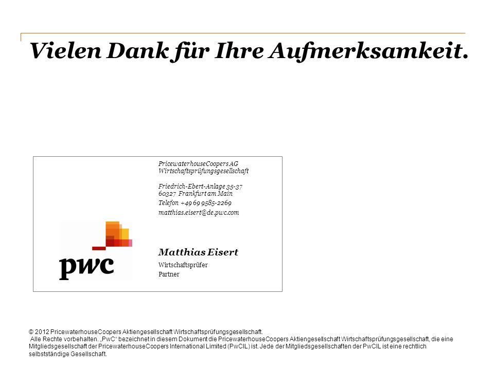 Vielen Dank für Ihre Aufmerksamkeit. © 2012 PricewaterhouseCoopers Aktiengesellschaft Wirtschaftsprüfungsgesellschaft. Alle Rechte vorbehalten. PwC be
