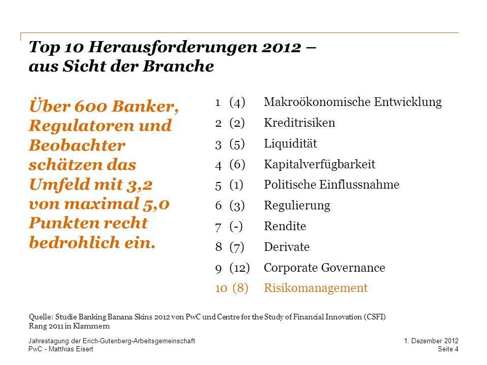 PwC - Matthias Eisert Top 10 Herausforderungen 2012 – aus Sicht der Branche Über 600 Banker, Regulatoren und Beobachter schätzen das Umfeld mit 3,2 vo