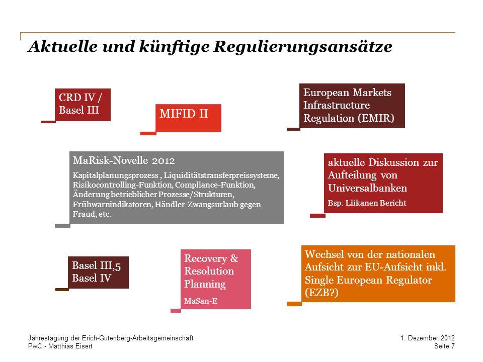 PwC - Matthias Eisert Aktuelle und künftige Regulierungsansätze Recovery & Resolution Planning MaSan-E MaRisk-Novelle 2012 Kapitalplanungsprozess, Liq