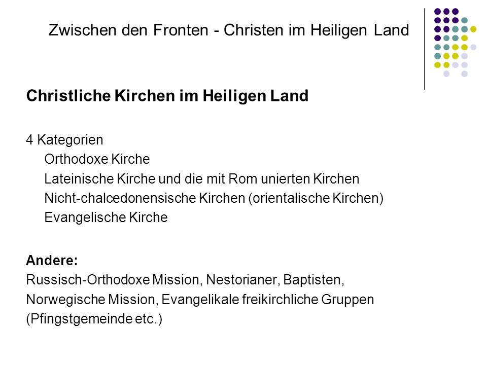 Zwischen den Fronten - Christen im Heiligen Land Christliche Kirchen im Heiligen Land 4 Kategorien Orthodoxe Kirche Lateinische Kirche und die mit Rom