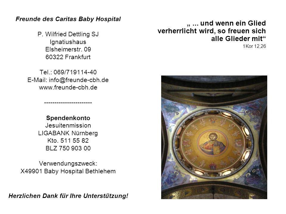 ... und wenn ein Glied verherrlicht wird, so freuen sich alle Glieder mit 1Kor 12,26 Freunde des Caritas Baby Hospital P. Wilfried Dettling SJ Ignatiu