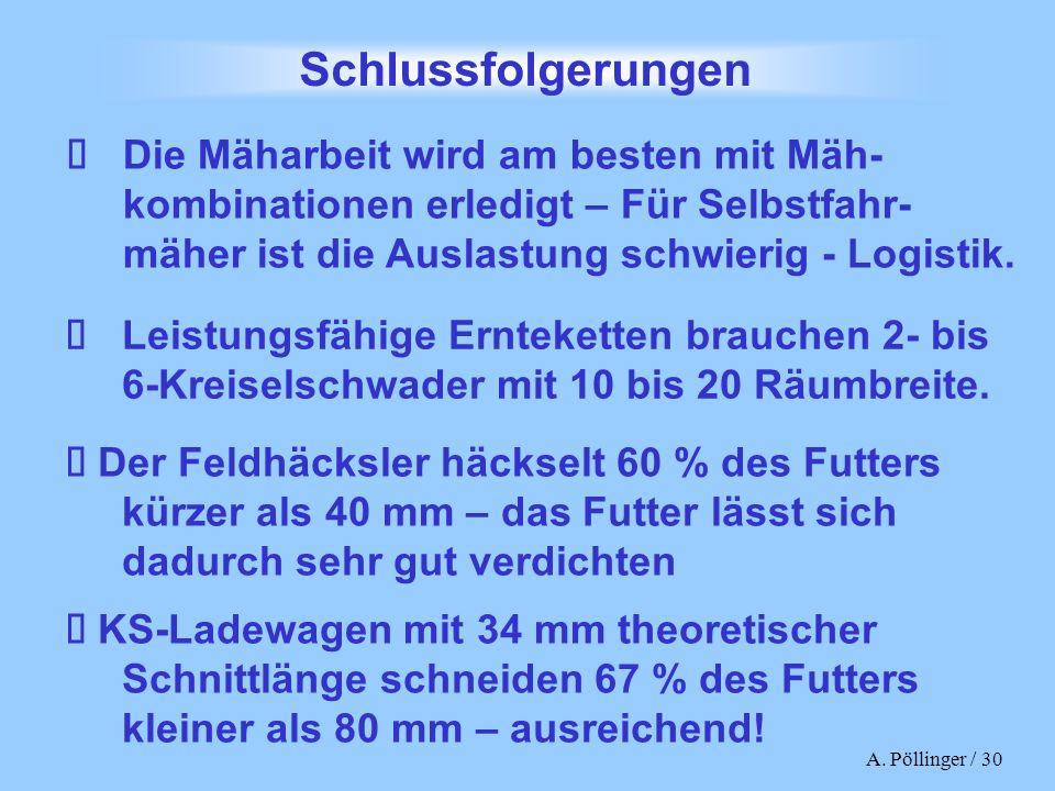A. Pöllinger / 30 Leistungsfähige Ernteketten brauchen 2- bis 6-Kreiselschwader mit 10 bis 20 Räumbreite. Die Mäharbeit wird am besten mit Mäh- kombin