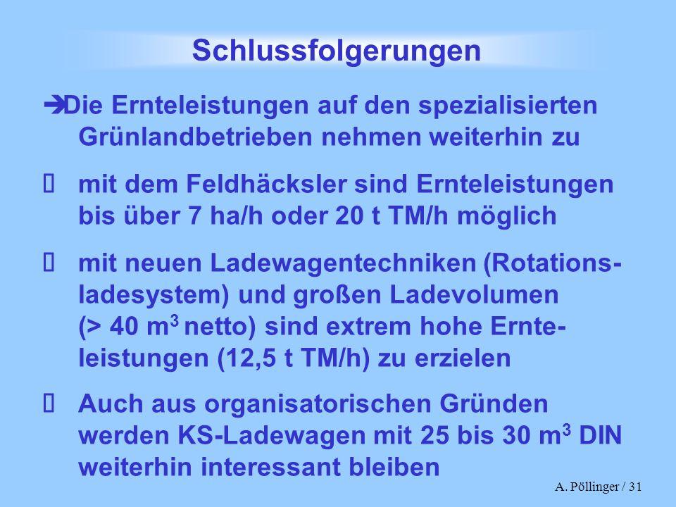 A. Pöllinger / 31 Schlussfolgerungen Die Ernteleistungen auf den spezialisierten Grünlandbetrieben nehmen weiterhin zu mit dem Feldhäcksler sind Ernte