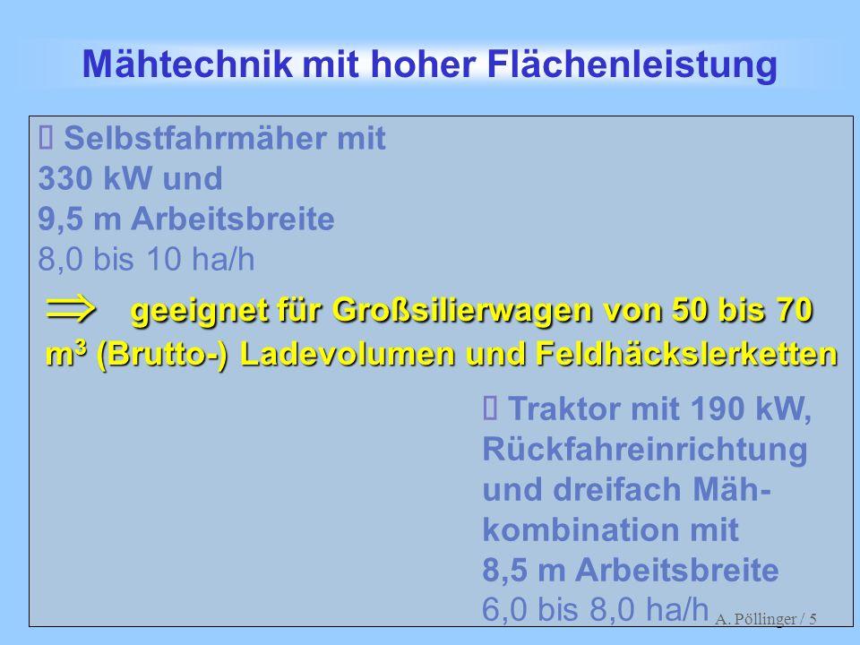 A. Pöllinger / 5 Mähwerkskombination Mähtechnik mit hoher Flächenleistung Traktor mit 190 kW, Rückfahreinrichtung und dreifach Mäh- kombination mit 8,