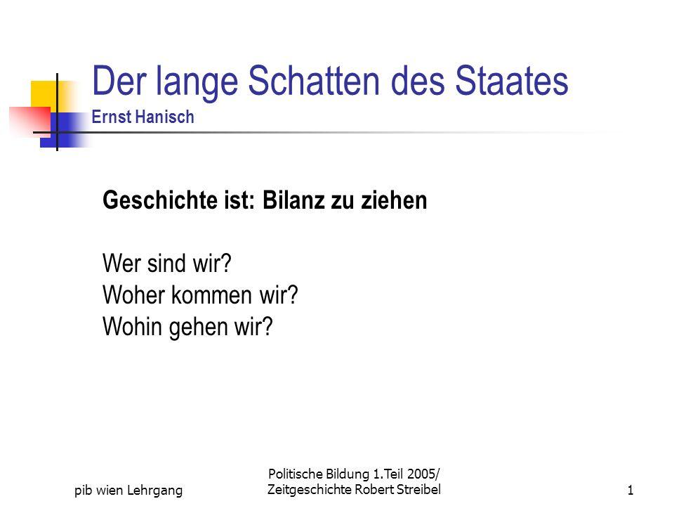 pib wien Lehrgang Politische Bildung 1.Teil 2005/ Zeitgeschichte Robert Streibel1 Der lange Schatten des Staates Ernst Hanisch Geschichte ist: Bilanz zu ziehen Wer sind wir.