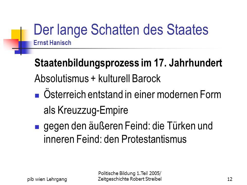 pib wien Lehrgang Politische Bildung 1.Teil 2005/ Zeitgeschichte Robert Streibel12 Der lange Schatten des Staates Ernst Hanisch Staatenbildungsprozess im 17.