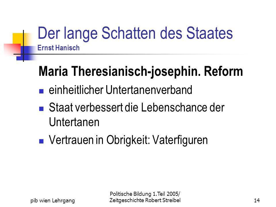 pib wien Lehrgang Politische Bildung 1.Teil 2005/ Zeitgeschichte Robert Streibel14 Der lange Schatten des Staates Ernst Hanisch Maria Theresianisch-josephin.