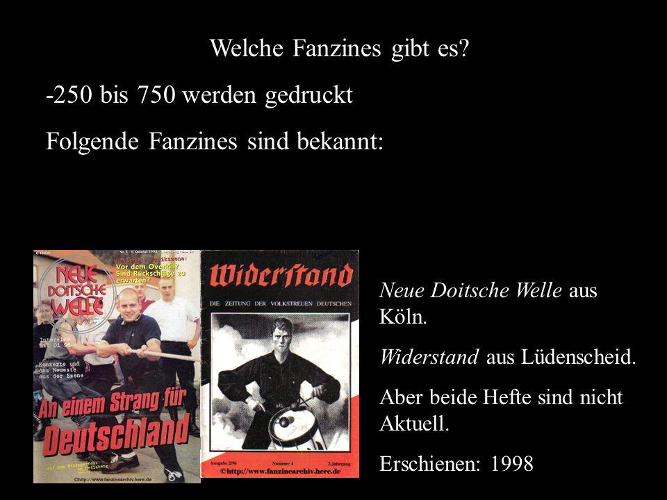 Welche Fanzines gibt es? -250 bis 750 werden gedruckt Folgende Fanzines sind bekannt: Neue Doitsche Welle aus Köln. Widerstand aus Lüdenscheid. Aber b