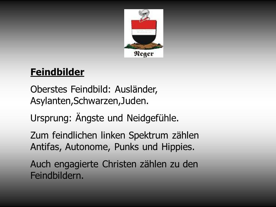 Feindbilder Oberstes Feindbild: Ausländer, Asylanten,Schwarzen,Juden.